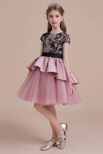 Cap Sleeve Lace Tulle Knee Length Flower Girl Dress_6
