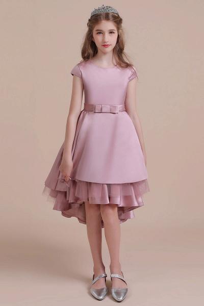 Cap Sleeve A-line Satin High-low Flower Girl Dress_1