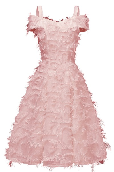 Artificial Fur Cap Sleeve Princess Short Homecoming Dress   A-line Burgundy Cocktail Dresses_2