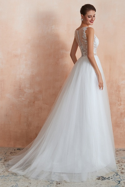 Graceful Sequins Tulle A-line Wedding Dress_6