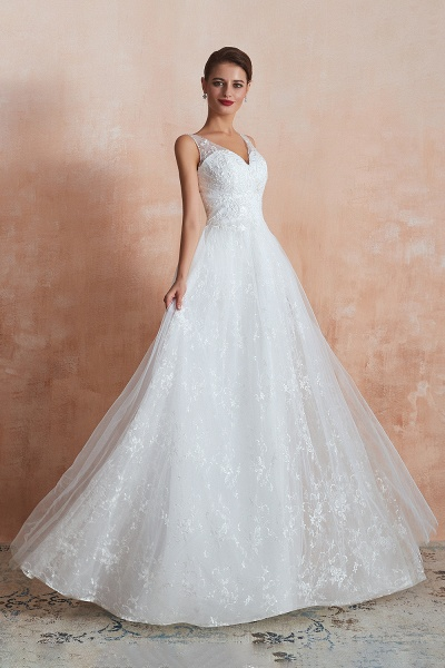 Elegant V-neck Lace Tulle A-line Wedding Dress_5