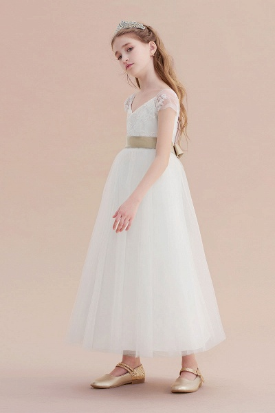 Cap Sleeve Sweetheart Tulle Flower Girl Dress_4