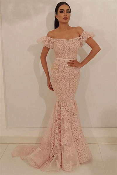 Amazing Off-the-shoulder Lace Mermaid Prom Dress_1