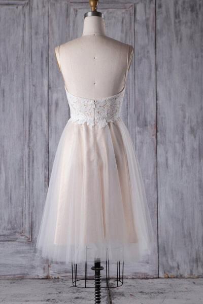 Spaghetti Strap Lace Tulle Short Wedding Dress_3
