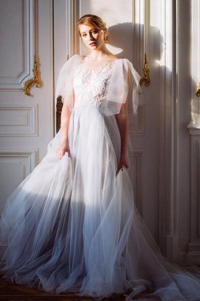Amazing Tulle Chapel Train Wedding Dress_1