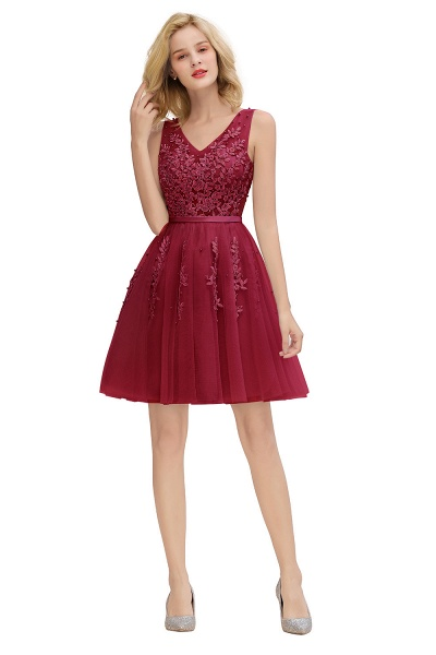 Sexy V-neck Lace-up Short Homecoming Dress with Lace Appliques_27