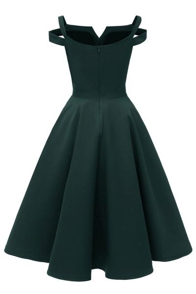 Sexy Cap Sleeves Princess Vintage Dresses with Straps | Womens Retro V-neck Emerald Cocktail Dress_10