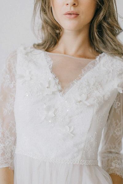Elegant Lace Tulle A-line Sweep Train Wedding Dress_5