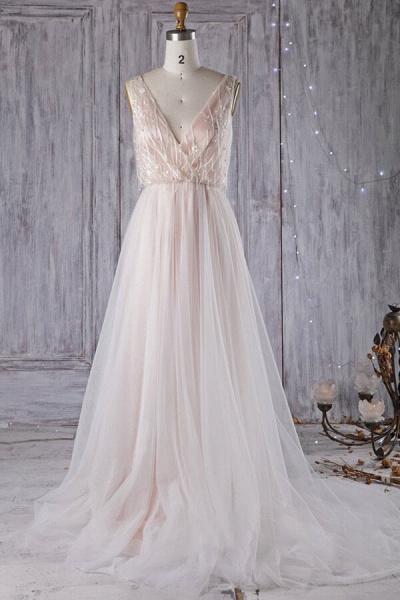 Awesome V-neck Tulle Chapel Train Wedding Dress_2