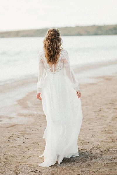 Chic Illusion Long Sleeve Tulle Wedding Dress_3