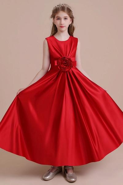 Chic Satin A-line Ankle Length Flower Girl Dress_7