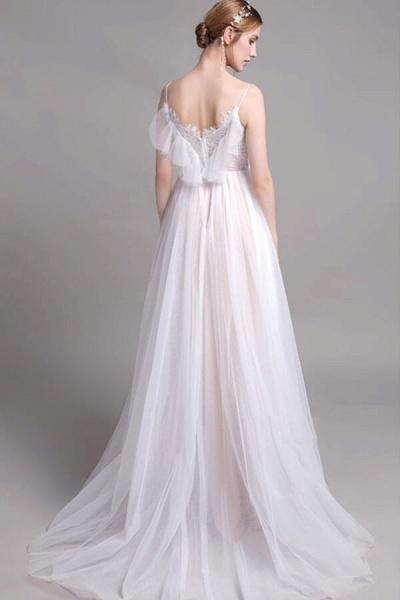 Graceful Spaghetti Strap Lace Tulle Wedding Dress_3