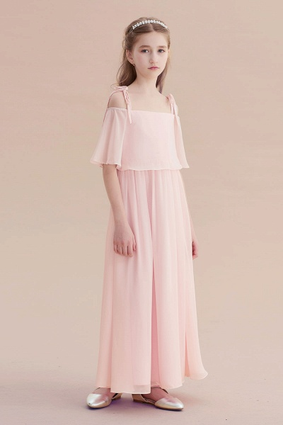Cold-shoulder A-line Chiffon Flower Girl Dress_5