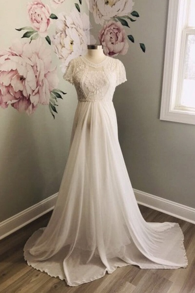 Awesome Short Sleeve Lace Chiffon Wedding Dress_2