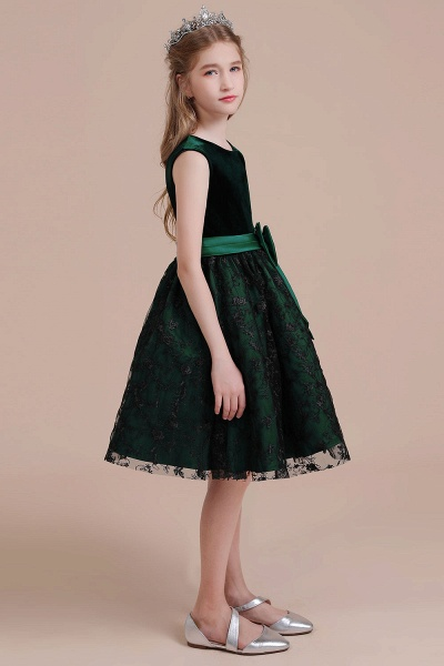 Lace Velvet A-line Knee Length Flower Girl Dress_6