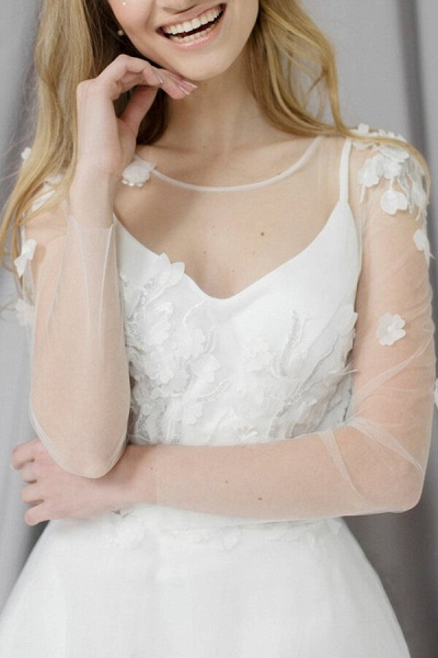 Appliques Long Sleeve Tulle A-line Wedding Dress_4