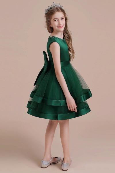 Bow A-line Satin Layered Tulle Flower Girl Dress_7