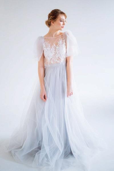Amazing Tulle Chapel Train Wedding Dress_4