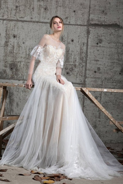 Illusion Long Sleeve Appliques Tulle Wedding Dress_9