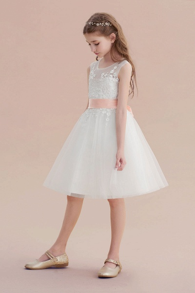 Illusion Appliques Tulle A-line Flower Girl Dress_6