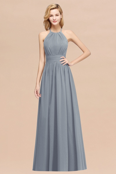 A-line Chiffon Appliques Halter Sleeveless Floor-Length Bridesmaid Dresses with Ruffles_40