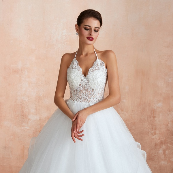 Halter Open Back Appliques Tulle Wedding Dress_11