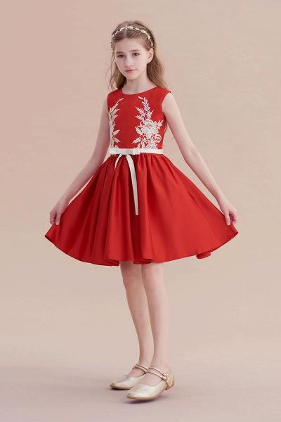 Affordable Appliques Satin A-line Flower Girl Dress_5