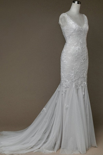 Amazing V-neck Appliques Mermaid Wedding Dress_4