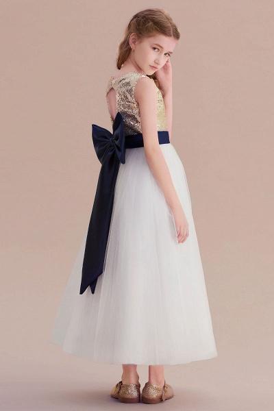 Bow Sequins Ankle Length A-line Flower Girl Dress_8