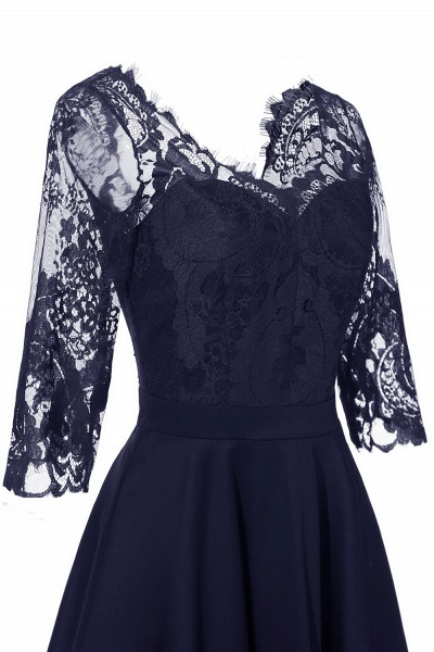 Retro Scoop neck  V-back Lace Dresses with Sleeves | A-line ruffles Burgundy Lace Cocktail Party Dresses_19