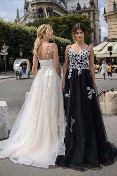 Spaghetti Strap Appliques A-line Wedding Dress_2