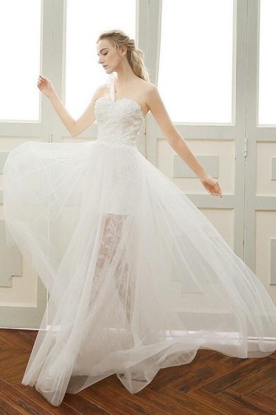Elegant One Shoulder Tulle A-line Wedding Dress_2