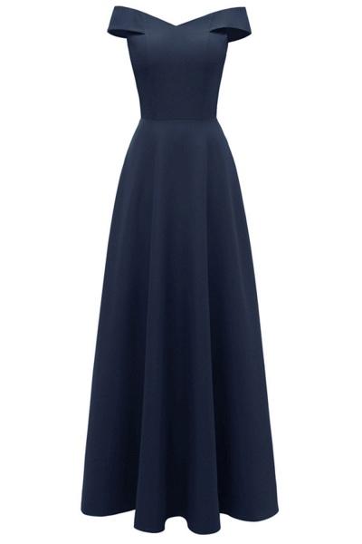 Women Simple Off-the-shoulder Bridesmaid Party Dress Long Burgundy Dress_3