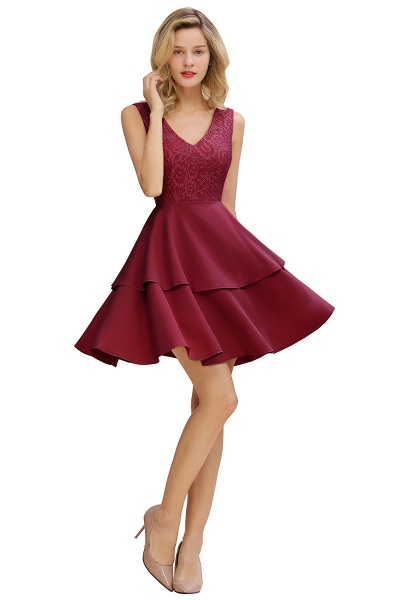 Sexy V-neck V-back Knee Length Homecoming Dress with Ruffle Skirt_11