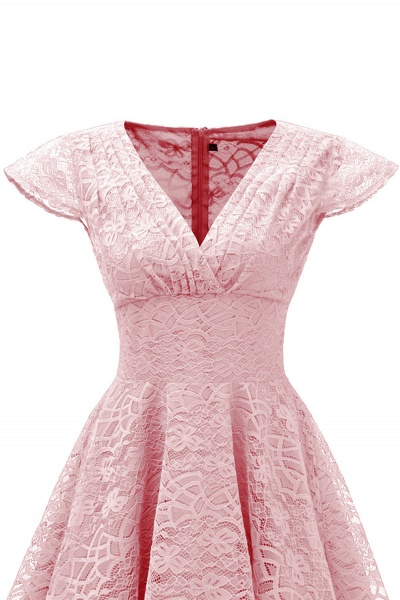 Retro Lace Cap Sleeves Dress Elegant Cocktail Party V-neck A Line Vintage Dress_9