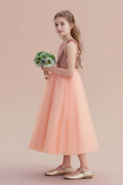 Graceful Sequins Tulle A-line Flower Girl Dress_5