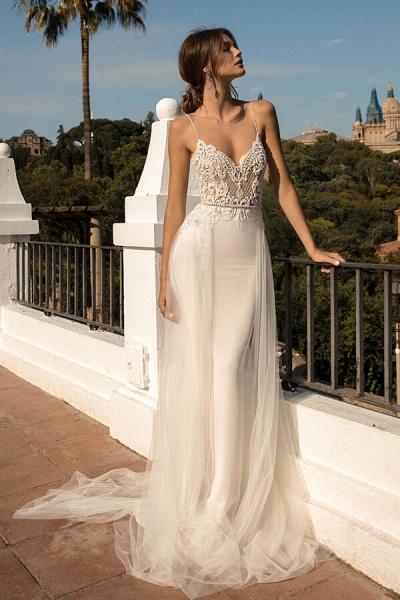 Amazing Chapel Train Tulle Mermaid Wedding Dress_1