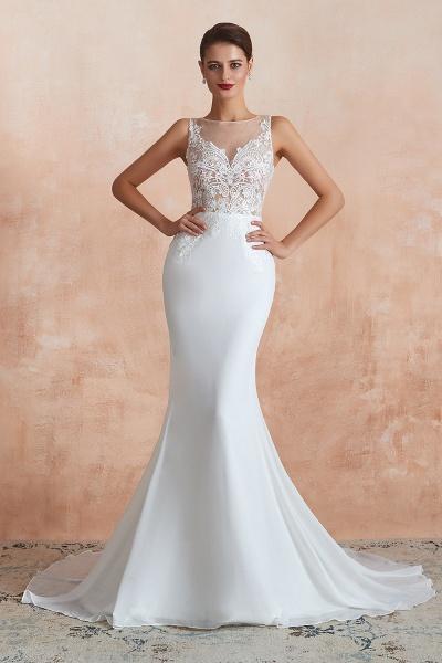 Chic Applique Satin Tulle Mermaid Wedding Dress_1
