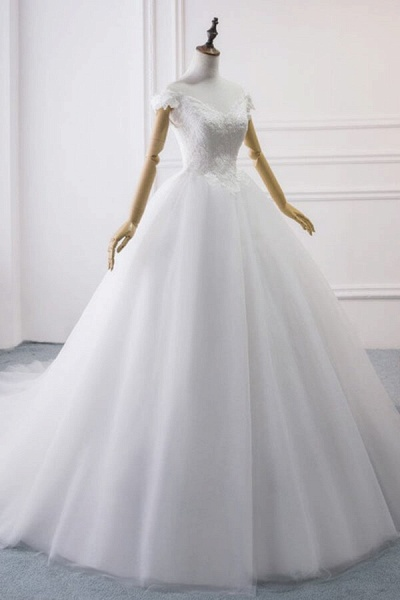 Amazing V-neck Lace Tulle Ball Gown Wedding Dress_5