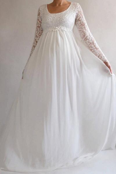 Elegant Long Sleeve Chiffon Lace Wedding Dress_1