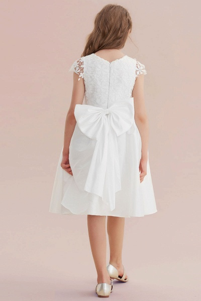 Cap Sleeve Lace Bow A-line Flower Girl Dress_3