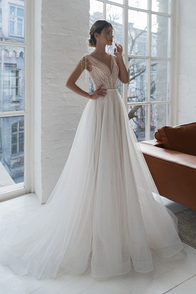 Beading Cathedral Train Tulle A-line Wedding Dress_1