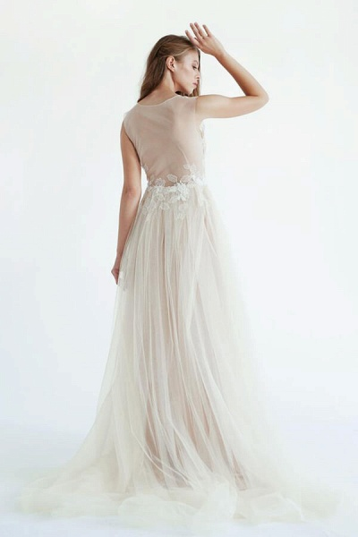 Latest V-neck Tulle A-line Wedding Dress_5