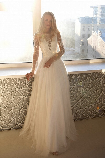 Awesome Long Sleeve Lace Tulle A-line Wedding Dress_2