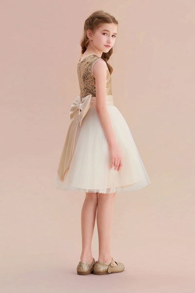 Sequins Tulle Bow A-line Flower Girl Dress_7