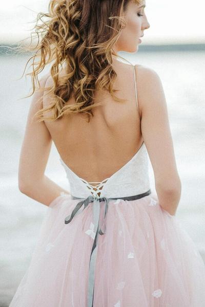 Spaghetti Strap Lace Tulle A-line Wedding Dress_8