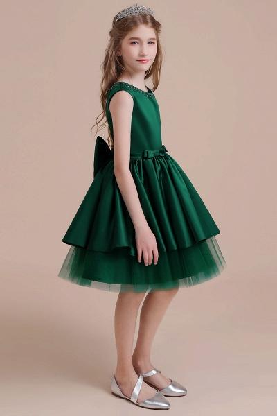 Bow Beading Satin Tulle A-line Flower Girl Dress_5
