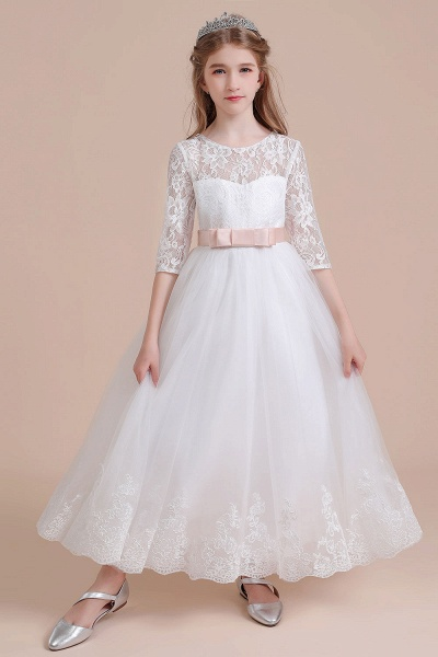 Illusion Lace Tulle Ankle Length Flower Girl Dress_7
