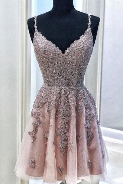 Fantastic V Neck Sleeveless Beading Homecoming Dress_1