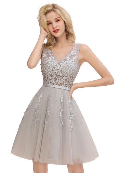 Sexy V-neck Lace-up Short Homecoming Dress with Lace Appliques_8